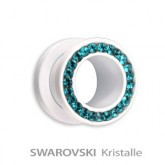 Supernova - Flesh Tunnel - Stahl - Weiß - Blue Zircon